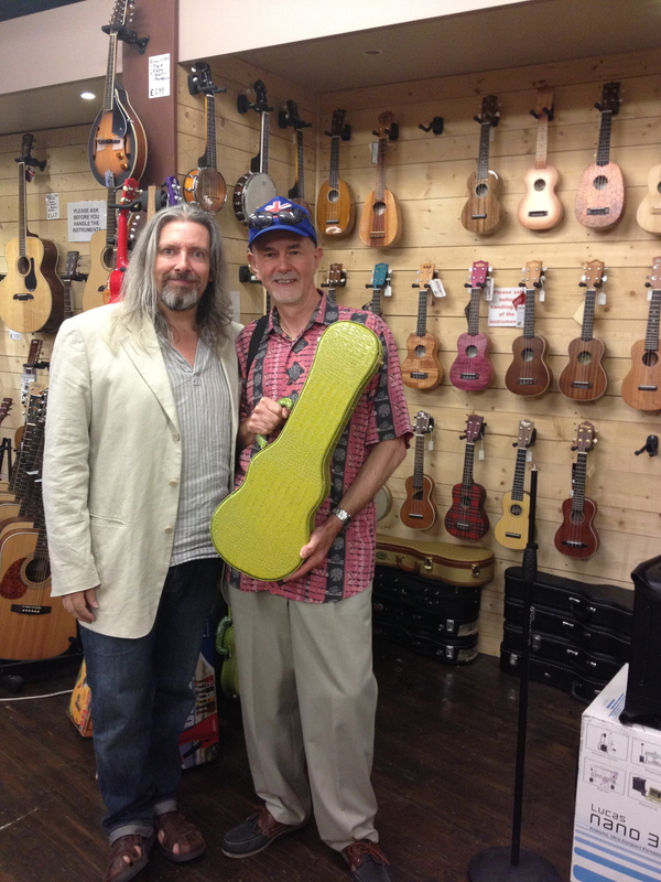 At Southern Ukulele Store, Bournemouth, with manager Paul Tucker